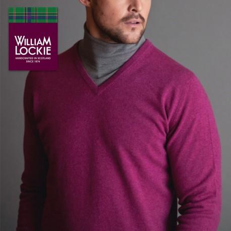 William Lockie pull homme slim col V laine Ecosse  pull homme laine haut de gamme cadeau luxe