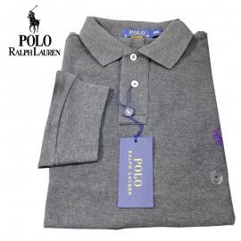 Polo manches longues Ralph Lauren REGULAR - gris
