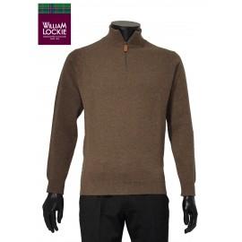 William Lockie pull homme laine slim fermeture zipée laine ecosse qualite marque