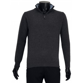 Pull homme laine col zip laine super Geelong Italie