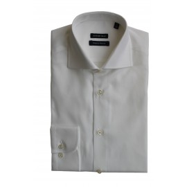 Chemise slim col italien manches longues coton pinpoint double rotor